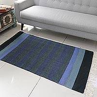 Cotton rug, 'Blue Shadow Harmony' (3x5) - 3 by 5 Foot Handwoven Blue Cotton Rug from India