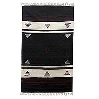 Wool rug, 'Burgundy Triangles' (3x5) - Black and White Handwoven Dhurrie with Purple (3 x 5)