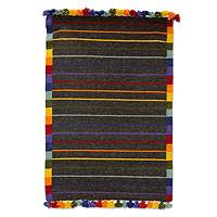 Wool rug, 'Brown Rainbow Road' (2x3) - Handwoven Brown Wool Rug with Multicolor Accents (2x3)