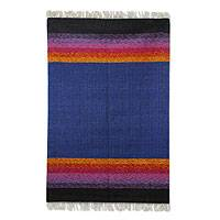 Wool rug, 'Purple Shadow Harmony' (4x6) - Artisan Handwoven 4 by 6 Foot Wool Rug