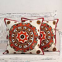 Beaded cotton cushion covers, 'Orange Mandala' (pair) - Ecru Cotton Cushion Covers with Orange Embroidery (Pair)