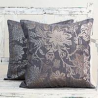Cotton cushion covers, 'Silver Sea Blossoms' (pair) - Blue Cotton Cushion Covers with Silver Foil Flowers (Pair)
