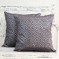 Cotton cushion covers, 'Diamond Glam' (pair) - Silver Foil Diamond Print Blue Cotton Cushion Covers (Pair)