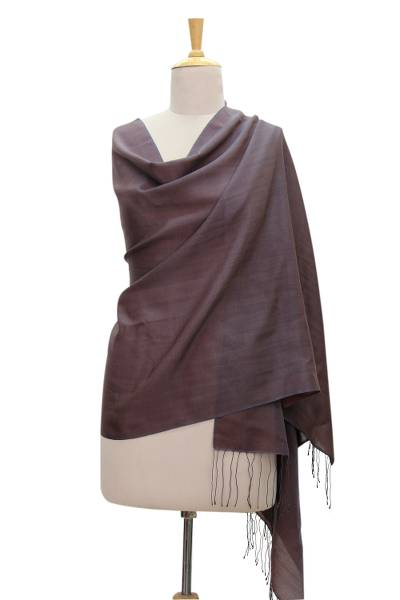 Silk and wool shawl, Chocolate Plum