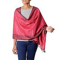 Silk shawl 'Bhagalpuri Rose' - Handwoven Silk Shawl in Red and Pink with Black Borders