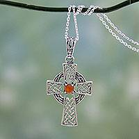 Carnelian pendant necklace, 'Radiant Celtic Cross' - Artisan Crafted Carnelian and Silver Celtic Cross Necklace