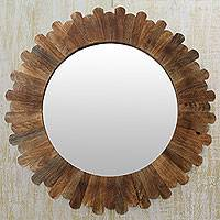 Wood wall mirror, Earthen Halo - Fair Trade Round Wall Mirror Hand Crafted from Mango Wood
