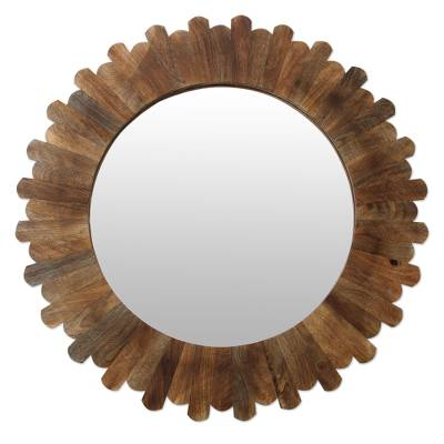 Wood wall mirror, 'Earthen Halo' - Fair Trade Round Wall Mirror Hand Crafted from Mango Wood