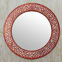 Glass mosaic wall mirror, 'Tangerine Petals' - Orange and White Glass Mosaic Circular Wall Mirror