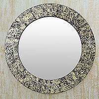Glass mosaic mirror, 'Golden Moon' - Gold and Black Glass Mosaic Round Wall Mirror from India