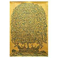 'Golden Dreams' (2015) - India Signed Original Kalamkari Folk Painting (2015)