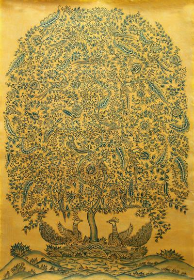 India Signed Original Kalamkari Folk Painting (2015)