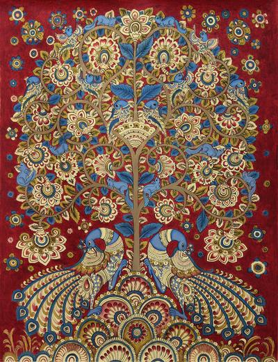 India Kalamkari Folk Painting in Burgundy and Blue (2014)