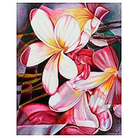 'Frangipani' - Geometric Flowers Oil Painting Signed Fine Arts from India