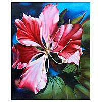 'Water Lily' - Pink and Red Water Lily Flower Painting Signed by Artist