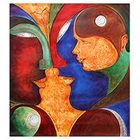 'Pure Love' - Family Love Painting India Expressionism Signed Fine Arts
