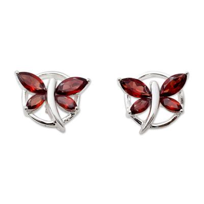 Garnet Birthstone Sterling Silver Butterfly Earrings