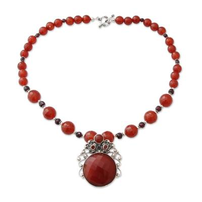 Handcrafted Floral Pendant Necklace Carnelian and Garnet
