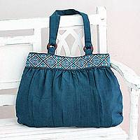 Cotton shoulder bag, 'Assam Teal' - India Handwoven Teal Cotton Shoulder Bag