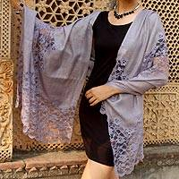 Wool blend shawl, 'Wisteria Lace' - Artisan Crafted Lacy Lavender Wool Blend Shawl