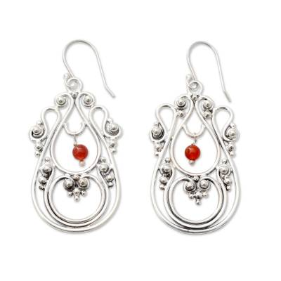 Traditional Sterling Silver Indian Earrings with Carnelian