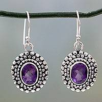Amethyst dangle earrings, 'Spiritual Muse' - Amethysts on Sterling Silver Hook Earrings from India