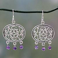 Amethyst dangle earrings, 'Mughal Visions' - Sterling Silver Earrings Crafted by Hand with Amethysts