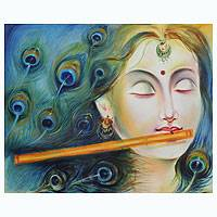 'Krishna's Lover Radha' - Signed Expressionistic India Portrait of Rhada