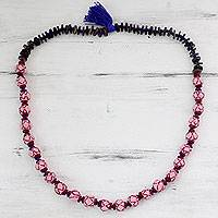 Cotton and wood long beaded necklace, 'Nature of Pink' - Pink Cotton Necklace with Wood and Coconut Shell Beads