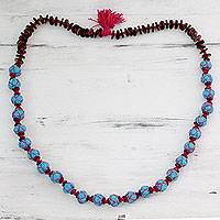 Cotton and wood long beaded necklace, 'Nature of Turquoise' - Artisan Crafted Cotton and Wood Necklace Fair Trade Jewelry
