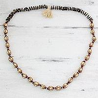 Cotton and wood long beaded necklace, 'Nature of Ecru' - Long Beaded Necklace Handmade with Cotton and Wood