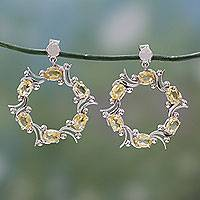 Citrine dangle earrings, 'Golden Wreath' - Sterling Silver Wreath Earrings with Citrines