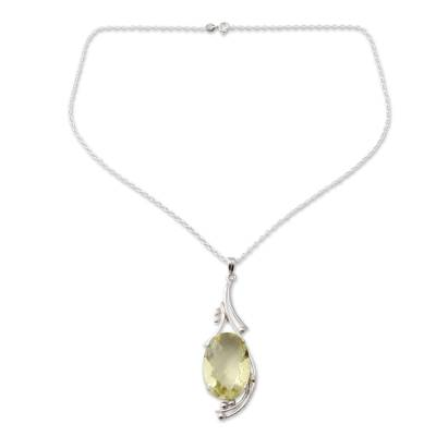 18-carat Lemon Quartz Pendant in Sterling Silver Necklace