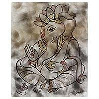 'Chintamani Ganesha' - Original Portrait of Chintamani Ganesha in Neutral Colors