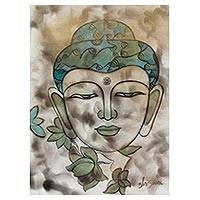 'Buddha the Messenger of Peace' - India Reverent Signed Portrait of Buddha In Quiet Colors