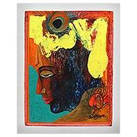 'Meditation' - Modern Signed Krishna Portrait in Bright Colors