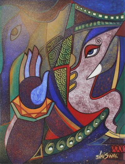 'Vinayak' - India Original Cubist Painting of Vinayak