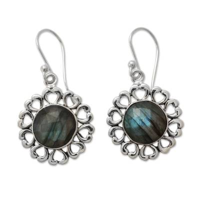 India Artisan Crafted Floral Theme Labradorite Earrings