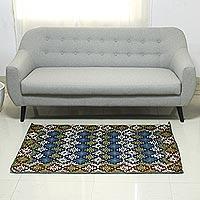 Chain stitched wool rug Tribal Diamonds 3x5 India