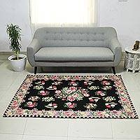 Chain stitched wool rug, 'Roses of Kashmir' (4.5x7) - Pink Rose Motif on Black Chain Stitch 4.5 x 7 Kashmiri Rug