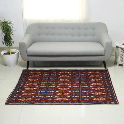 Chain stitched wool rug, 'Valley of Fire' (4x6) - Chain Stitched India Wool and Cotton Rug (4x6)