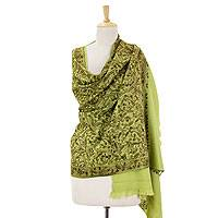 Wool shawl, 'Floral Greenery' - Green Chain Stitch Embroidery India Wool Shawl