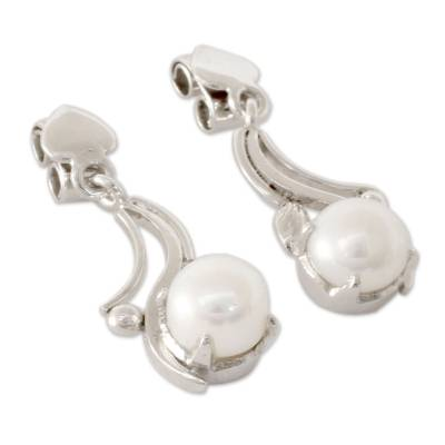 Cultured pearl dangle earrings, 'Iridescent Magnificence' - White Pearls on Rhodium Plated Sterling Silver Earrings