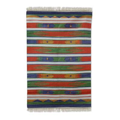 Cotton rug, 'Agra Tribute' (4x6) - Multi Color Rug Hand Woven Cotton from India (4x6)