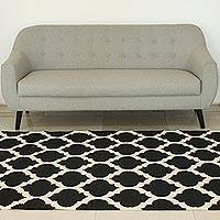 Wool dhurrie rug, 'Palace Tiles' (5x8) - Black and White India Handwoven Wool Dhurrie Rug (5 x 8)