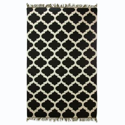 Black And White India Handwoven Wool Dhurrie Rug 5 X 8