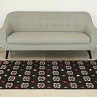 Wool dhurrie rug, 'Starlit Night' (5x8) - Black Wool Dhurrie Area Rug Handwoven in India
