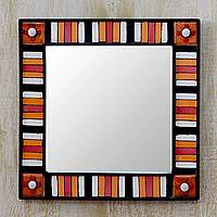 Wall mirror, 'Sunshine Reflection' - Square Wall Mirror and Frame Artisan Crafted Ceramic