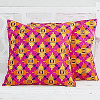 Embroidered cushion covers, 'Fuchsia Party' (pair) - Orange on Fuchsia Embroidered Square Cushion Covers (Pair)
