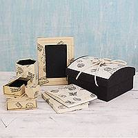 Handmade paper desk set, 'Time Traveler' (set of 9) - 9-piece Desk Set Crafted with Handmade Paper